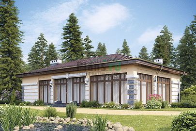Проект одноэтажного дома 15x9 метров, общей площадью 109 м2, из кирпича
