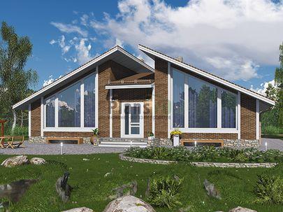 Проект одноэтажного дома 16x12 метров, общей площадью 155 м2, из кирпича, c котельной и кухней-столовой