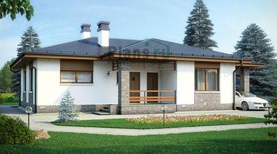 Проект одноэтажного дома 16x14 метров, общей площадью 115 м2, из газобетона (пеноблоков), c гаражом и котельной