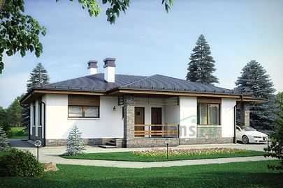 Проект одноэтажного дома 16x14 метров, общей площадью 115 м2, из керамических блоков, c гаражом, террасой и котельной