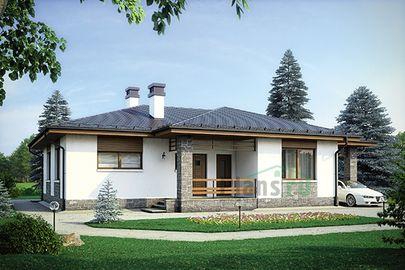 Проект одноэтажного дома 16x14 метров, общей площадью 115 м2, из кирпича, c гаражом, террасой и котельной