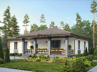 Проект одноэтажного дома 16x14 метров, общей площадью 126 м2, из газобетона (пеноблоков), c террасой, котельной и кухней-столовой