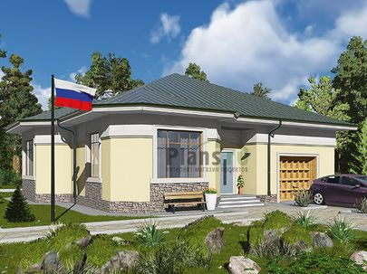 Проект одноэтажного дома 16x14 метров, общей площадью 174 м2, из керамических блоков, c гаражом, котельной и кухней-столовой