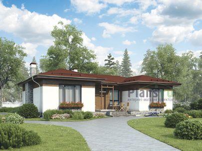 Проект одноэтажного дома 16x15 метров, общей площадью 129 м2, из кирпича, c террасой, котельной и кухней-столовой
