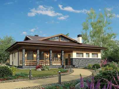 Проект одноэтажного дома 16x15 метров, общей площадью 160 м2, из газобетона (пеноблоков), c террасой, котельной и кухней-столовой