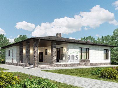 Проект одноэтажного дома 16x17 метров, общей площадью 169 м2, из газобетона (пеноблоков), c террасой, котельной и кухней-столовой