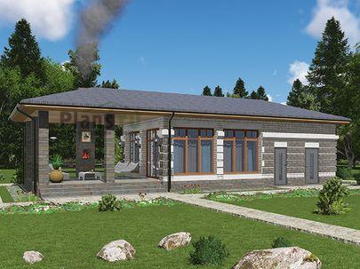 Проект одноэтажного дома 16x6 метров, общей площадью 51 м2, из керамических блоков, c гаражом и террасой