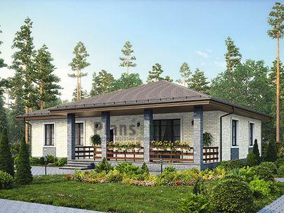 Проект одноэтажного дома 17x11 метров, общей площадью 154 м2, из керамических блоков, c террасой, котельной и кухней-столовой