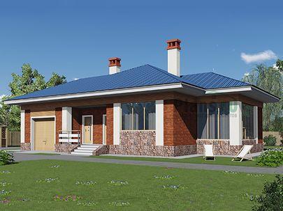 Проект одноэтажного дома 17x12 метров, общей площадью 132 м2, из кирпича, c гаражом, котельной и кухней-столовой