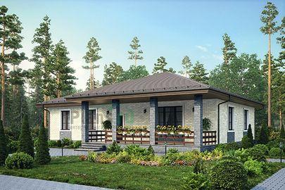 Проект одноэтажного дома 17x14 метров, общей площадью 145 м2, из кирпича, c террасой, котельной и кухней-столовой