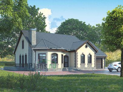 Проект одноэтажного дома 17x14 метров, общей площадью 164 м2, из кирпича, c гаражом, террасой, котельной и кухней-столовой