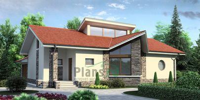 Проект одноэтажного дома 17x15 метров, общей площадью 146 м2, из кирпича, c гаражом и котельной