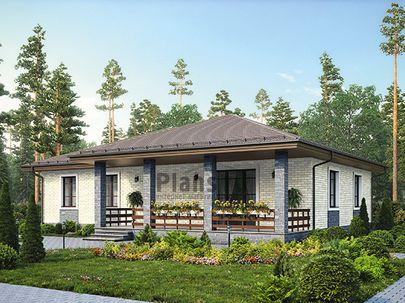Проект одноэтажного дома 17x15 метров, общей площадью 153 м2, из газобетона (пеноблоков), c террасой, котельной и кухней-столовой
