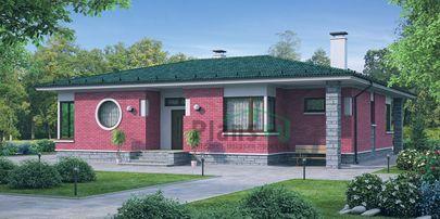 Проект одноэтажного дома 17x16 метров, общей площадью 157 м2, из газобетона (пеноблоков), c террасой, котельной и кухней-столовой