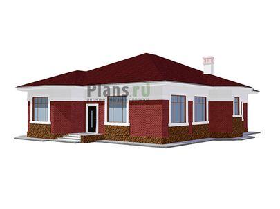 Проект одноэтажного дома 17x16 метров, общей площадью 169 м2, из керамических блоков, c котельной и кухней-столовой