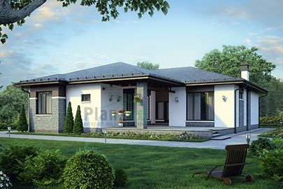 Проект одноэтажного дома 17x18 метров, общей площадью 171 м2, из кирпича, c террасой, котельной и кухней-столовой