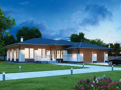 Проект одноэтажного дома 17x19 метров, общей площадью 216 м2, из керамических блоков, c гаражом, террасой, котельной и кухней-столовой