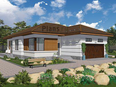 Проект одноэтажного дома 18x12 метров, общей площадью 136 м2, из газобетона (пеноблоков), c гаражом, террасой, котельной и кухней-столовой