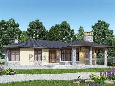 Проект одноэтажного дома 18x17 метров, общей площадью 175 м2, из газобетона (пеноблоков), c террасой, котельной и кухней-столовой