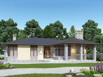 Проект одноэтажного дома 18x17 метров, общей площадью 175 м2, из кирпича, c террасой, котельной и кухней-столовой