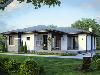 Проект одноэтажного дома 18x18 метров, общей площадью 187 м2, из керамических блоков, c террасой, котельной и кухней-столовой