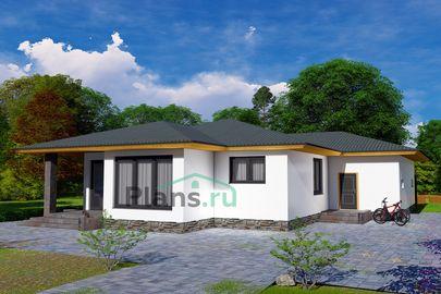 Проект одноэтажного дома 19x15 метров, общей площадью 169 м2, из керамических блоков, c гаражом, террасой, котельной и кухней-столовой
