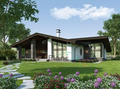 Проект одноэтажного дома 19x15 метров, общей площадью 183 м2, из керамических блоков, c бассейном, террасой, котельной и кухней-столовой