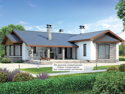 Проект одноэтажного дома 19x19 метров, общей площадью 174 м2, из кирпича, c террасой, котельной и кухней-столовой
