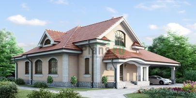 Проект одноэтажного дома 19x21 метров, общей площадью 208 м2, из керамических блоков, c гаражом, террасой, котельной и кухней-столовой