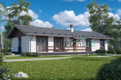 Проект одноэтажного дома 19x9 метров, общей площадью 144 м2, из кирпича, c террасой, котельной и кухней-столовой