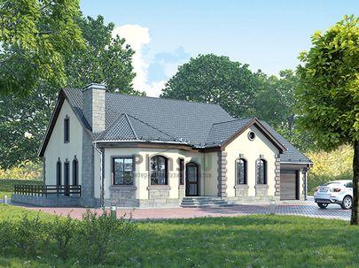 Проект одноэтажного дома 20x14 метров, общей площадью 164 м2, из керамических блоков, c гаражом, террасой, котельной и кухней-столовой