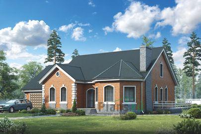Проект одноэтажного дома 20x14 метров, общей площадью 173 м2, из керамических блоков, c гаражом, террасой и кухней-столовой