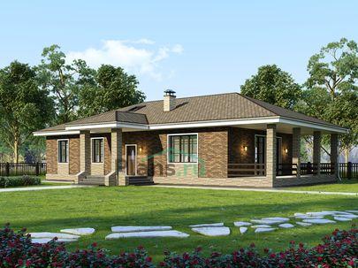 Проект одноэтажного дома 20x15 метров, общей площадью 155 м2, из кирпича, c террасой, котельной и кухней-столовой
