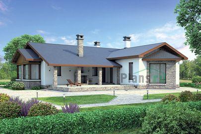 Проект одноэтажного дома 20x20 метров, общей площадью 174 м2, из кирпича, c террасой и котельной