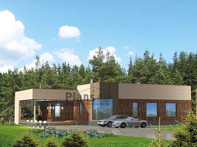 Проект одноэтажного дома 21x16 метров, общей площадью 200 м2, из керамических блоков, c террасой, котельной и кухней-столовой