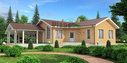 Проект одноэтажного дома 22x18 метров, общей площадью 199 м2, из керамических блоков, c террасой и кухней-столовой