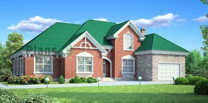 Проект одноэтажного дома 22x18 метров, общей площадью 222 м2, из керамических блоков, c гаражом, котельной и кухней-столовой