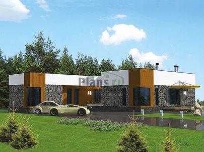 Проект одноэтажного дома 28x20 метров, общей площадью 250 м2, из керамических блоков, c террасой, котельной и кухней-столовой