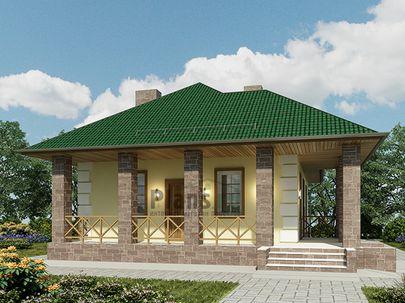 Проект одноэтажного дома 8x12 метров, общей площадью 75 м2, из керамических блоков, c террасой, котельной и кухней-столовой