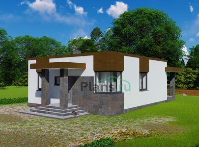 Проект одноэтажного дома 9x10 метров, общей площадью 71 м2, из газобетона (пеноблоков), c террасой, котельной и кухней-столовой