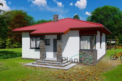 Проект одноэтажного дома 9x10 метров, общей площадью 71 м2, из кирпича, c террасой и кухней-столовой