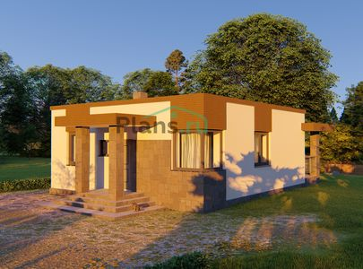 Проект одноэтажного дома 9x10 метров, общей площадью 71 м2, из кирпича, c террасой, котельной и кухней-столовой