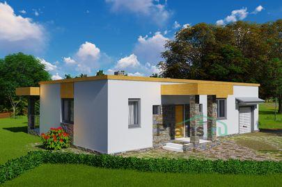 Проект одноэтажного дома 9x15 метров, общей площадью 107 м2, из кирпича, c гаражом, террасой, котельной и кухней-столовой