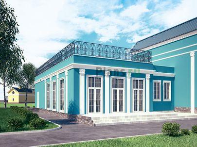 Проект одноэтажного дома с цоколем 10x20 метров, общей площадью 253 м2, из керамических блоков, c бассейном и террасой