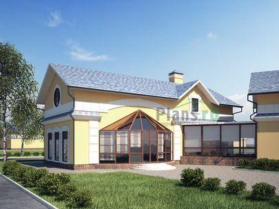 Проект одноэтажного дома с цоколем 14x8 метров, общей площадью 243 м2, из керамических блоков, c бассейном