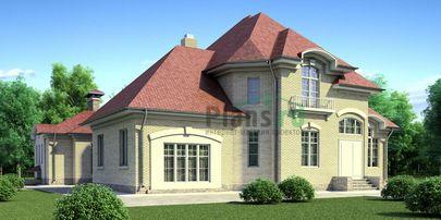 Проект одноэтажного дома с цоколем 15x7 метров, общей площадью 181 м2, из керамических блоков, c бассейном и котельной