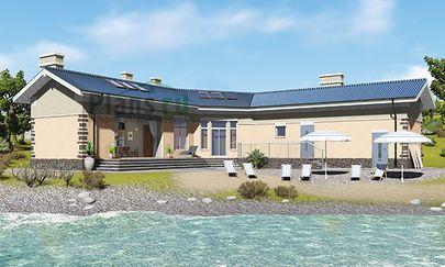 Проект одноэтажного дома с цоколем 16x17 метров, общей площадью 124 м2, из керамических блоков, c террасой, котельной и кухней-столовой