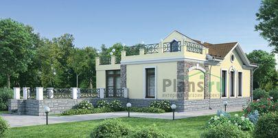 Проект одноэтажного дома с цоколем 16x6 метров, общей площадью 266 м2, из керамических блоков, c бассейном и террасой
