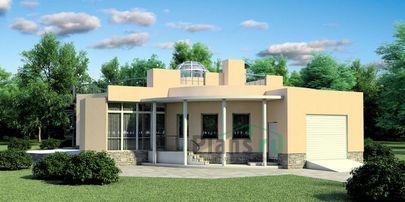 Проект одноэтажного дома с цоколем 9x12 метров, общей площадью 282 м2, из керамических блоков, c гаражом, бассейном, террасой и котельной