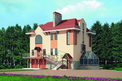 Проект трехэтажного дома 12x11 метров, общей площадью 328 м2, из керамических блоков, со вторым светом, c гаражом, бассейном, зимним садом, котельной и кухней-столовой